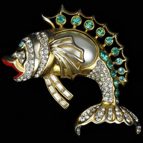 Hattie Carnegie Gold Pave Aquamarine and Enamel Pearl Belly Leaping Fish Pin