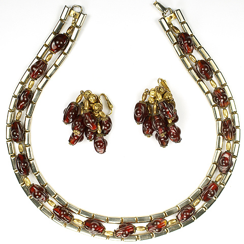 Hattie Carnegie Gold and Ruby Poured Glass Nuggets Triple Stranded Necklace and Pendant Clip Earrings Set