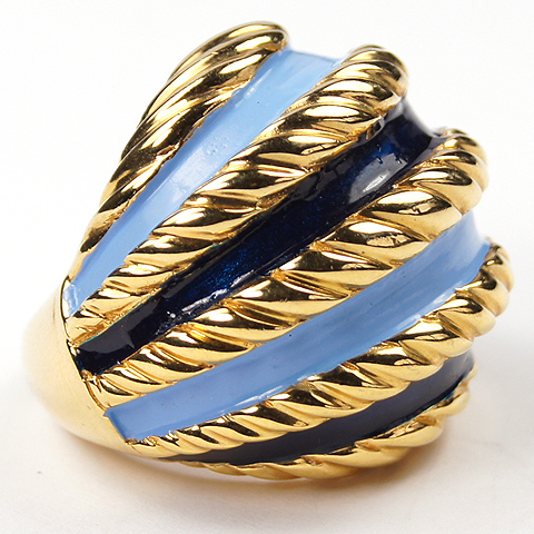 Jomaz Gold Turquoise and Lapis Bands Finger Ring