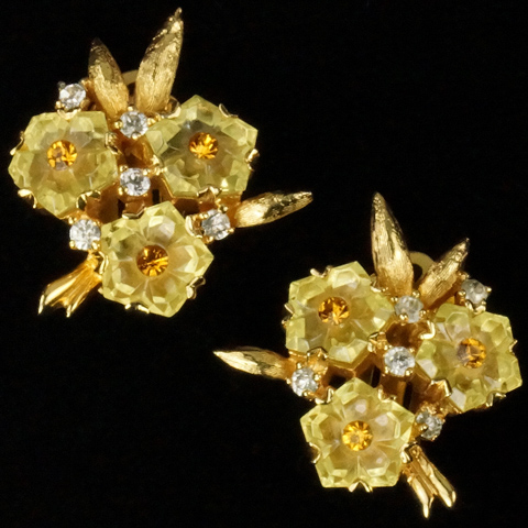 Jomaz Gold Leaves and Citrine Fruit Salad Flowers Clip Earrings