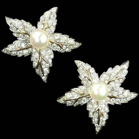 Jomaz Gold Pave and Pearls Five Pointed Star Leaf Clip Earrings