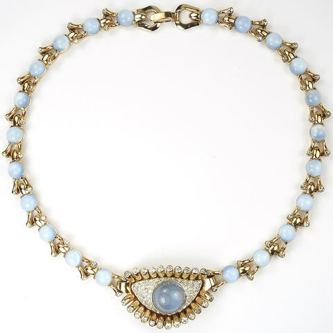 Mazer Gold Pave and Blue Moonstone Cabochon 'Jewels of Fantasy' Eye and Lashes Necklace