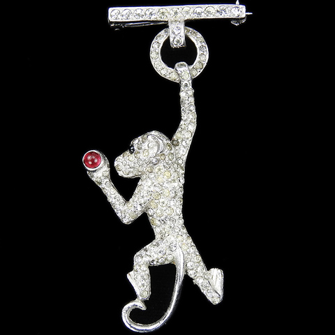Mazer Pave Swinging Pendant Monkey with Ruby Cabochon Apple Pin