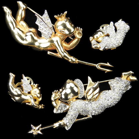 Mazer 'Joseph Wuyts' Gold and Pave Matching Pair of Whispering Angel and Devil Pins and Clip Earrings Set