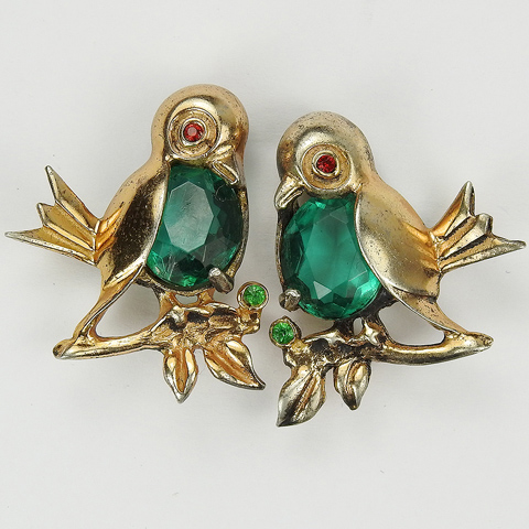 Reja Sterling (unsigned) Gold and Emerald Matched Pair of Birds on Branches Scatter Pins