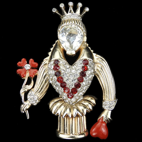 Reja (unsigned) Gold Pave and Enamel Queen of Hearts with Four Leaf Clover Pin Clip