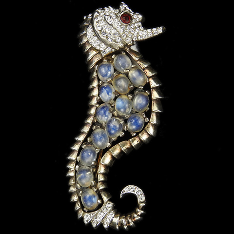 Reja Sterling Gold Pave and Moonstones Right Facing Seahorse Pin