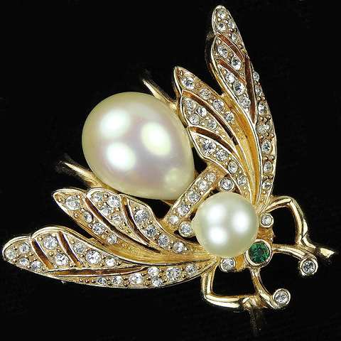 Ciner Gold Pave and Pearl Bellied Bug Pin
