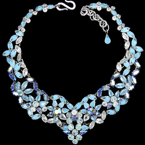 Christian Dior by Henkel and Grosse Sapphire Aurora Borealis and Frosted Aquamarine Starflowers Collar Necklace