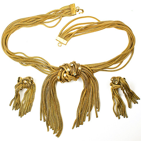Sandor Knotted and Spangled Golden Tassles Choker Necklace and Pendant Clip Earrings Set