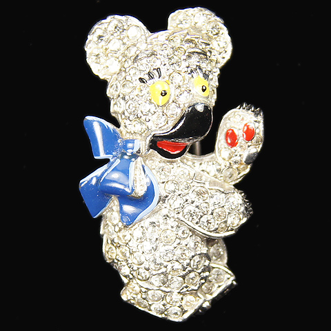 Trifari 'Alfred Philippe' Teddy Bear with Blue Bow Pin Clip