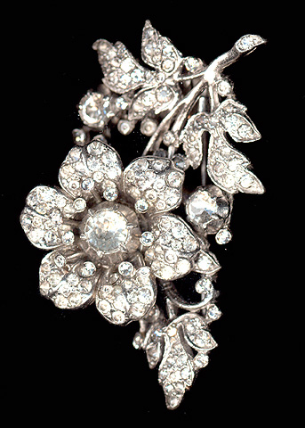 Trifari 'Alfred Philippe' Pave Trembler Single Rose on Stem Pin Clip