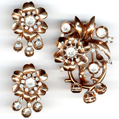 Trifari 'Alfred Philippe' Golden Flower on Branch with Pendants Pin Clip and Clip Earrings Set