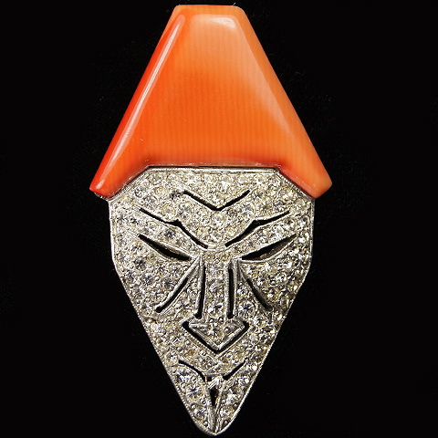 Trifari and Krussman Deco  Pave Pierrot Face Mask with Salmon Pink Bakelite Hat Pin