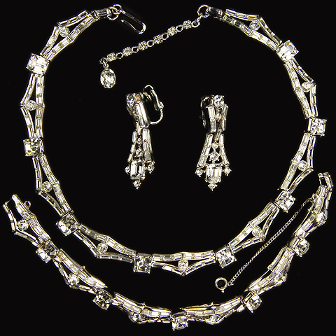 Trifari 'Alfred Philippe' 'Persuasion' Square Cut Diamonds and Baguettes Necklace, Bracelet and Pendant Clip Earrings Set