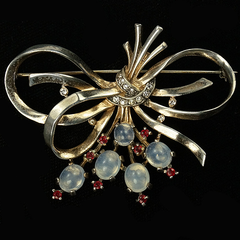 Trifari Sterling 'Alfred Philippe' Golden Bow Swirl with Ruby Spangles and Moonstone Cabochons Pin