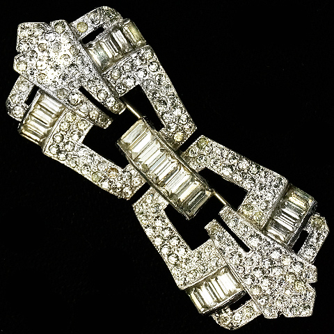 Trifari 'Alfred Philippe' Pave and Baguettes Deco Openwork Bar Pin