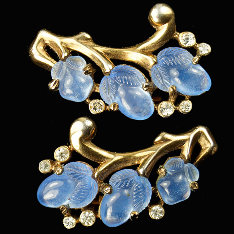 Trifari 'Alfred Philippe' Gold and Sapphire Fruit Salads Clip Earrings
