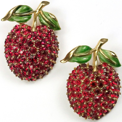 Trifari Gold Ruby and Enamel Pair of Cherry Scatter Pins