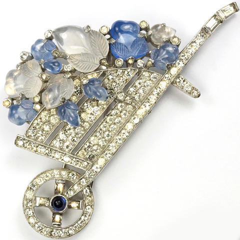 Trifari 'Alfred Philippe' Blue and White Moonstone Fruit Salads Large Wheelbarrow Pin Clip
