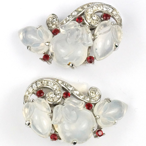 Trifari 'Alfred Philippe' Moonstone Fruit Salads and Ruby Spangles Clip Earrings