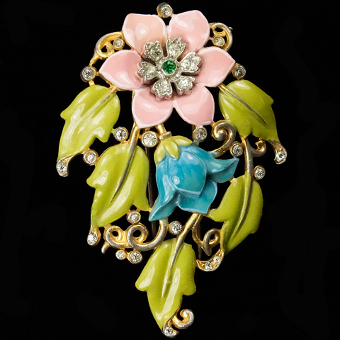 Trifari 'Alfred Philippe' Pink Carnation and Blue Lily Gold Pave and Enamel Pin Clip