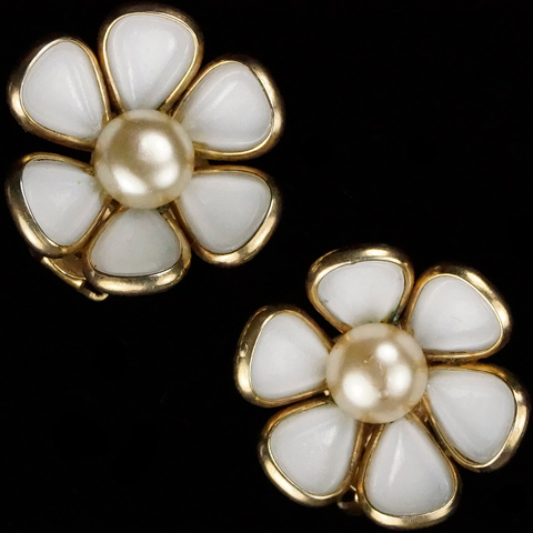 Trifari 'Alfred Philippe' 'Blossomtime' White Poured Glass and Pearl Flower Clip Earrings