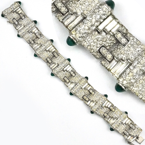 KTF Trifari 'Alfred Philippe' Pave with Baguette Slashes and Emerald Cabochons Deco Link Bracelet