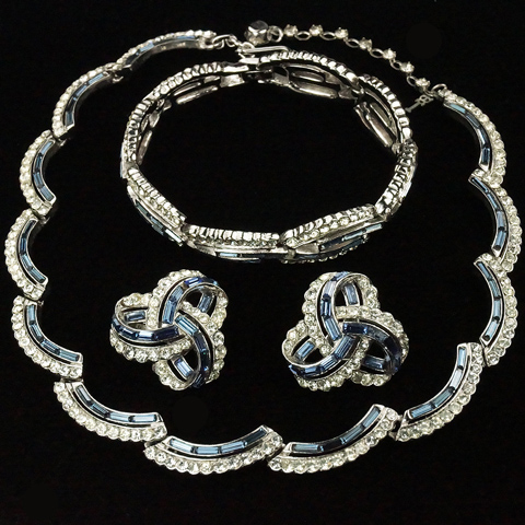Trifari 'Alfred Philippe' Pave and Sapphire Baguettes Swirls and Infinite Loops Necklace Bracelet and Clip Earrings Set