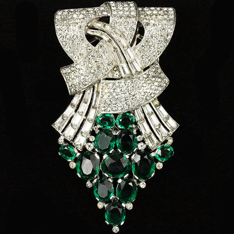 KTF Trifari 'Alfred Philippe' Pave Baguettes and Emerald Cascade Bowknot Dress Clip