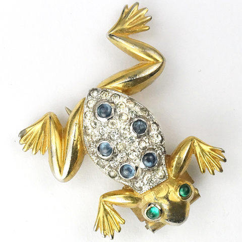 Trifari 'Alfred Philippe' Gold Pave and Cabochons Miniature Frog Pin Clip