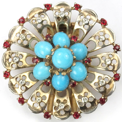 Trifari Sterling 'Alfred Philippe' Turquoise Cabochon Circle Pin Clip