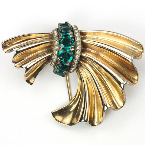 Trifari  Sterling 'Alfred Philippe' Emeralds and Golden Swag Pin Clip