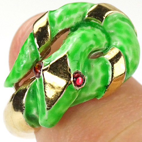 Trifari 'Alfred Philippe' 'Jewels of Fantasy' 'Garden of Eden' Gold and Green Enamel Snake Finger Ring