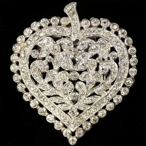 KTF Trifari 'Alfred Philippe' Pave Openwork Heart Dress Clip
