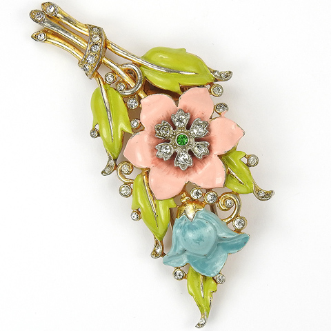 Trifari 'Alfred Philippe' Pink and Blue Carnations and Lillies Enamel Pin Clip