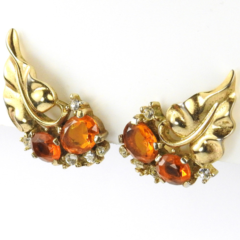 Trifari 'Alfred Philippe' Gold Leaves and Topaz Grapes on Vine Clip Earrings