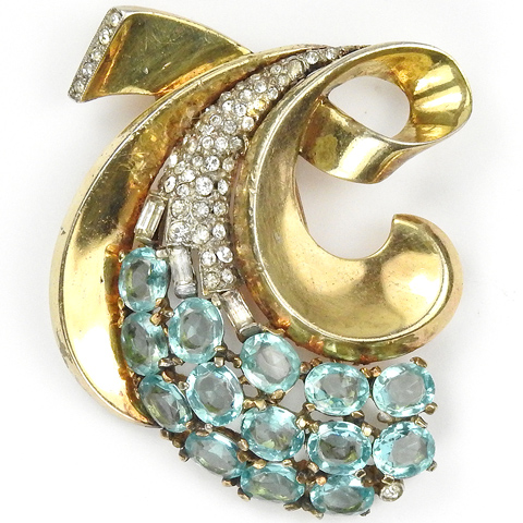 Trifari Sterling 'Alfred Philippe' Pave Aquamarines and Gold Scrolled Bow Pin Clip