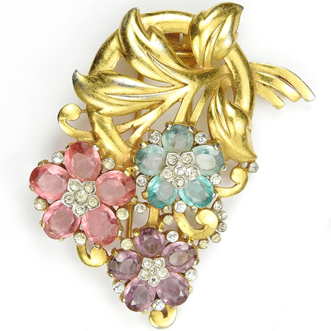 Trifari 'Alfred Philippe' Gold Leaf Swirl Pastel Pink Topaz Pale Amethyst and Aquamarine Flowers Floral Spray Pin Clip