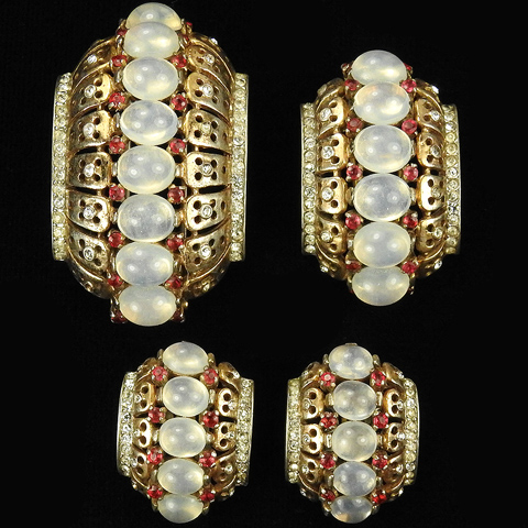Trifari Sterling 'Alfred Philippe' Gold Ruby Spangles and Moonstones Pair of Crescent Pin Clips and Clip Earrings Set