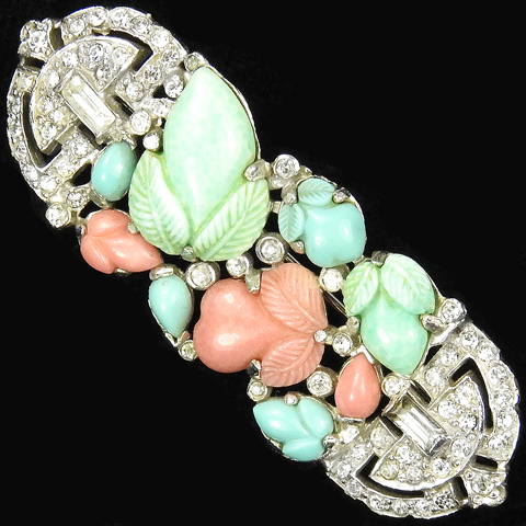 KTF Trifari 'Alfred Philippe' Turquoise Coral and Jade Fruit Salads Deco Pin