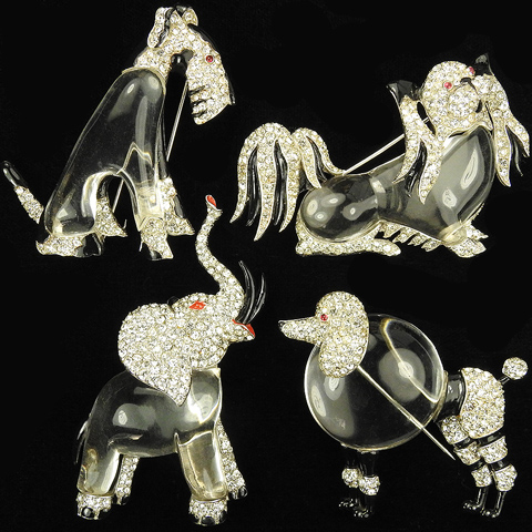 Trifari 'Alfred Philippe' Set of Four Classic 1942 Pave and Enamel Jelly Belly Brooches - Pekingese Pin, Airedale, Poodle Dog and Trumpeting Elephant Pin Clips