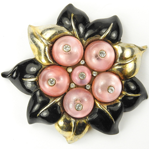 Trifari 'Alfred Philippe' Gold Black Enamel and Pink Shoebuttons Flowering Fruit Pin Clip