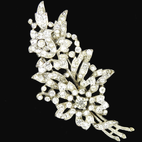 Trifari 'Alfred Philippe' Pave Floral Spray with Leaves Pin Clip