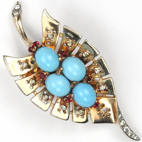 Trifari Sterling 'Alfred Philippe' Gold Diamante and Ruby Spangles Turquoise Cabochons Leaf Pin Clip