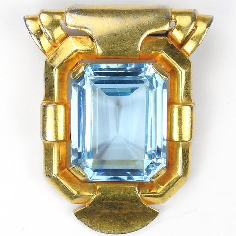 Trifari 'Alfred Philippe' Gold and Aquamarine Deco Doorknocker Pin