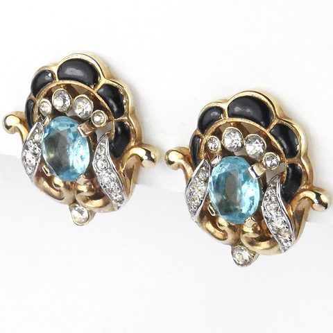 Trifari 'Alfred Philippe' Pave Enamel Aquamarine and Gold Scrolls Clip Earrings