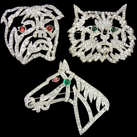 KTF Trifari 'Alfred Philippe' Set of Three Pave Openwork Cat's Face, Horse and Bulldog's Head Pins