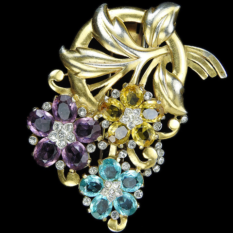 Trifari 'Alfred Philippe' Gold Leaf Swirl Pastel Citrine Amethyst and Aquamarine Flowers Floral Spray Pin Clip