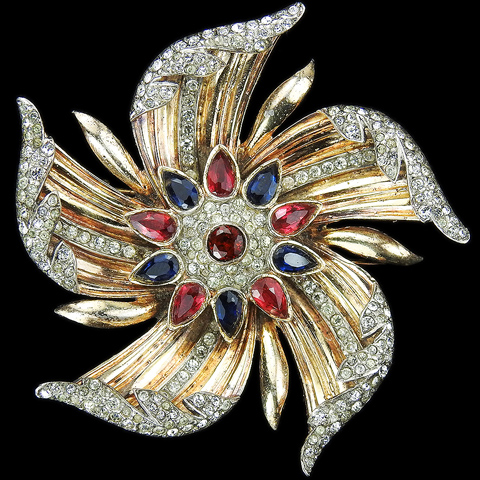 Trifari Sterling 'Alfred Philippe' Gold Pave Sapphire and Rubies Pinwheel Flower Pin Clip